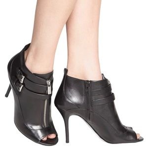 Michael Kors Brena Open Toe Leather Ankle Booties